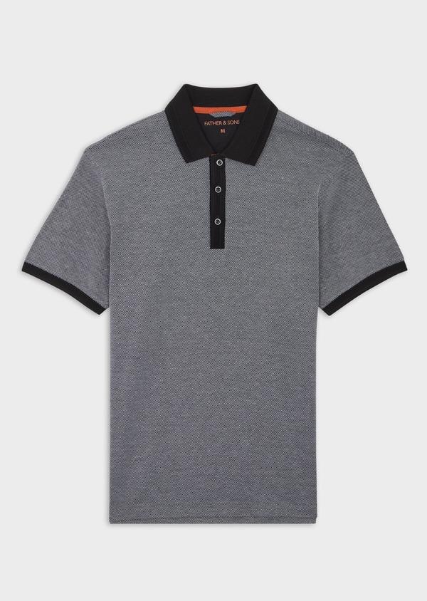 Polo manches courtes Slim en coton uni gris anthracite - Father and Sons 39903