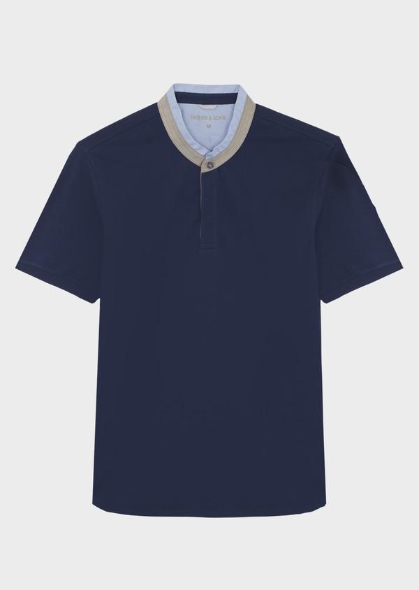 Polo manches courtes Slim en coton uni bleu - Father and Sons 40639