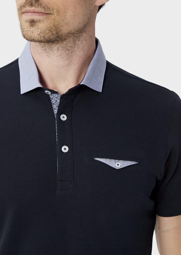 Polo manches courtes Slim en coton uni bleu marine - Father and Sons 39887