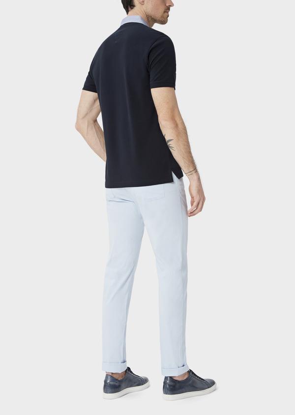Polo manches courtes Slim en coton uni bleu marine - Father and Sons 39886