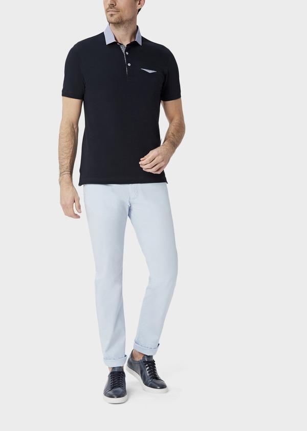 Polo manches courtes Slim en coton uni bleu marine - Father and Sons 39885
