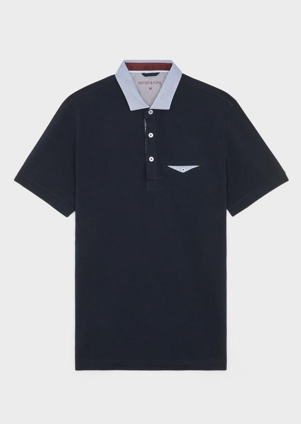 Polo manches courtes Slim en coton uni bleu marine - Father and Sons 39883