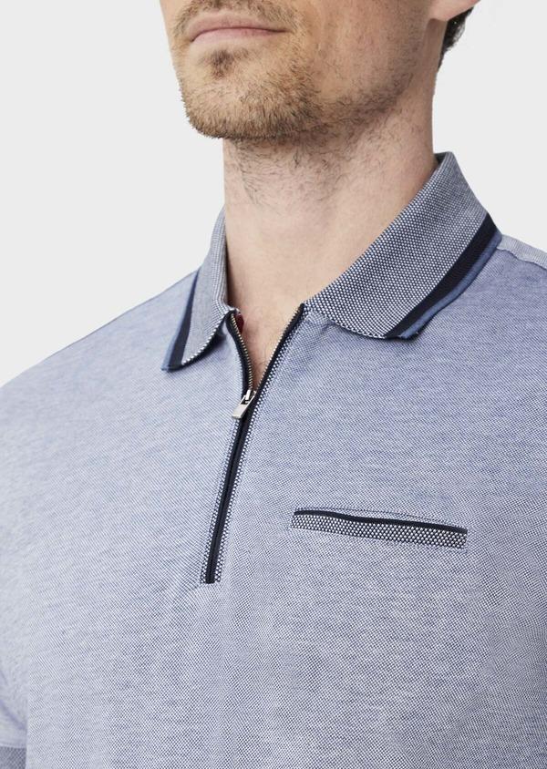 Polo manches courtes Slim en coton uni bleu chiné à col zippé - Father and Sons 39902