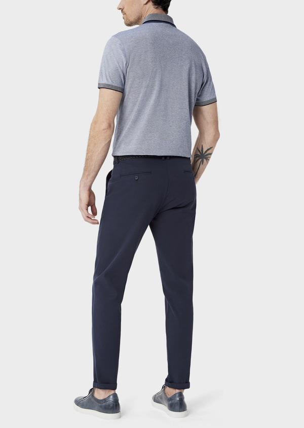Polo manches courtes Slim en coton uni bleu chiné à col zippé - Father and Sons 39901