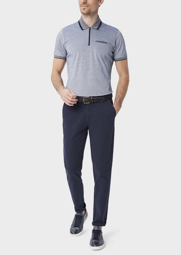 Polo manches courtes Slim en coton uni bleu chiné à col zippé - Father and Sons 39900