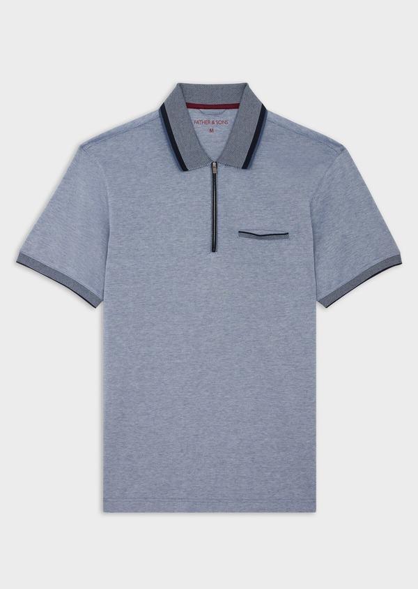 Polo manches courtes Slim en coton uni bleu chiné à col zippé - Father and Sons 39898