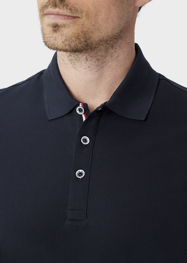 Polo manches courtes Slim en coton uni bleu marine - Father and Sons 40071