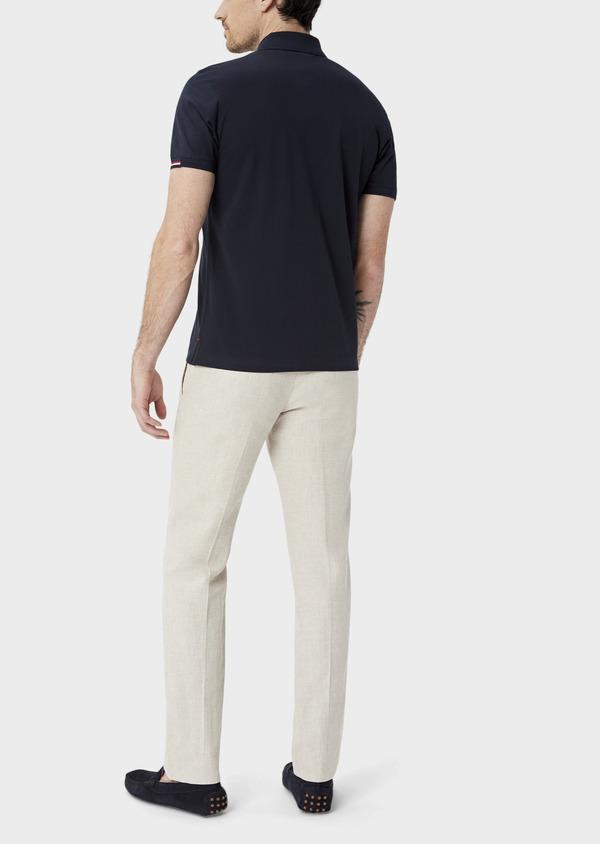 Polo manches courtes Slim en coton uni bleu marine - Father and Sons 40070