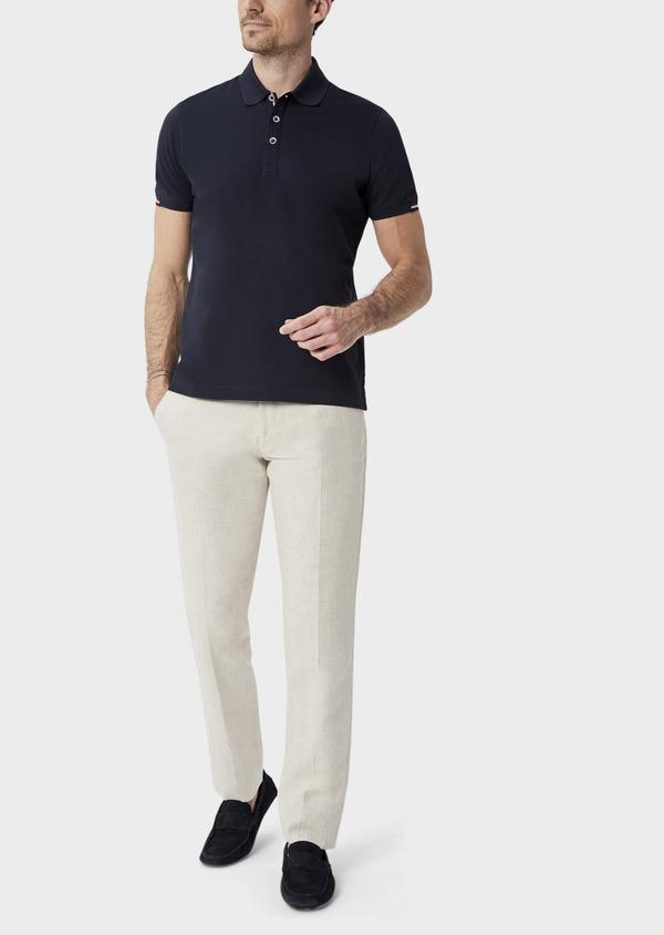 Polo manches courtes Slim en coton uni bleu marine - Father and Sons 40069
