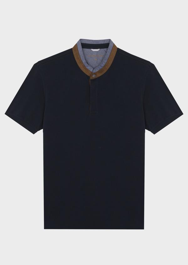 Polo manches courtes Slim en coton uni bleu marine - Father and Sons 40634
