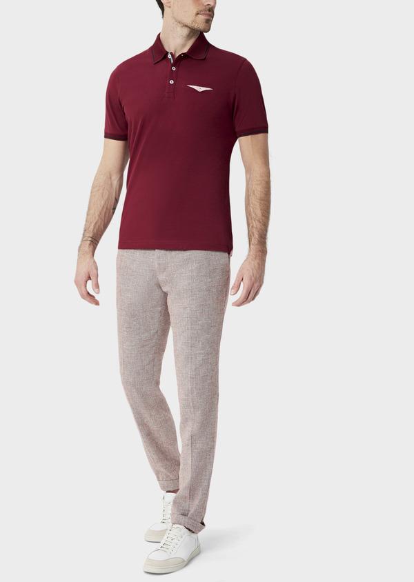 Polo manches courtes Slim en coton uni bordeaux - Father and Sons 40059