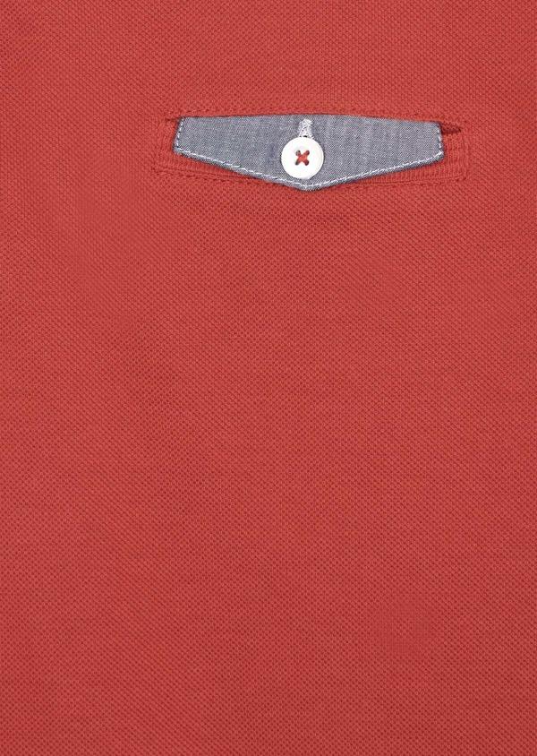 Polo manches courtes Slim en coton uni orange foncé - Father and Sons 40078