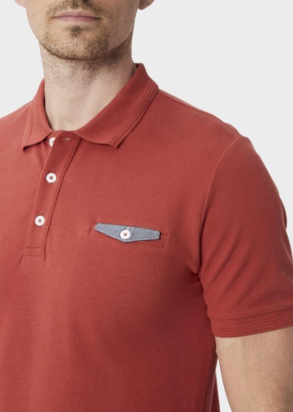 Polo manches courtes Slim en coton uni orange foncé - Father and Sons 40081