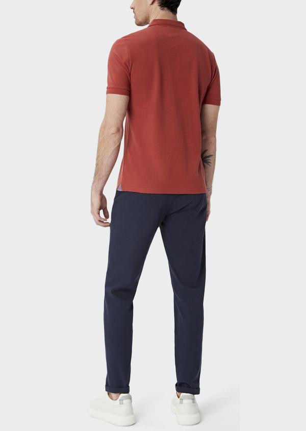 Polo manches courtes Slim en coton uni orange foncé - Father and Sons 40080