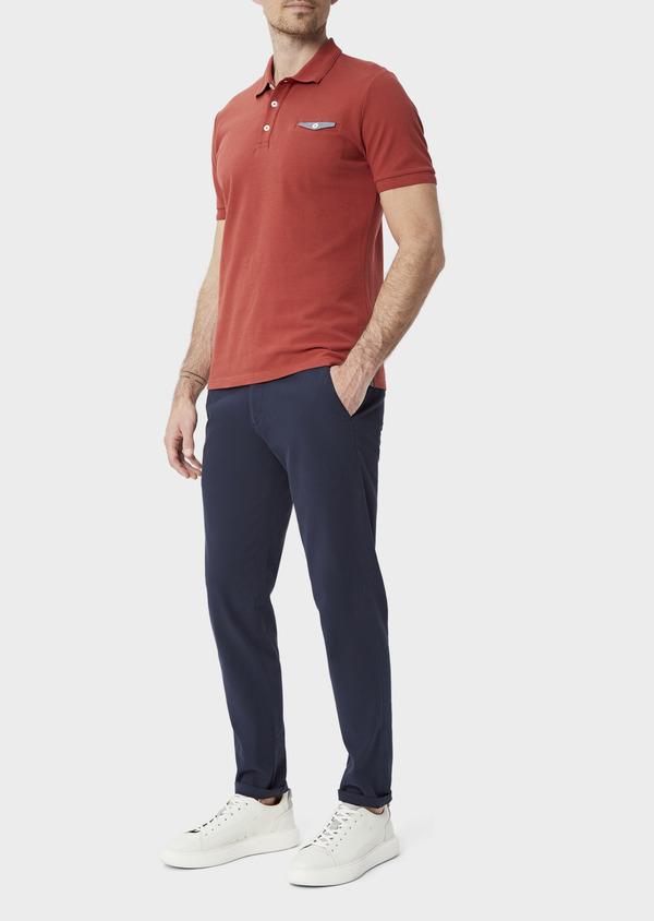 Polo manches courtes Slim en coton uni orange foncé - Father and Sons 40079