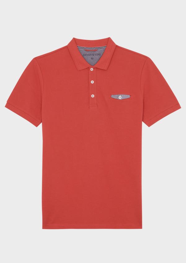Polo manches courtes Slim en coton uni orange foncé - Father and Sons 40077