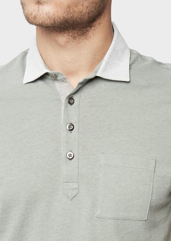Polo manches courtes Slim en coton et lin uni vert kaki - Father and Sons 38742