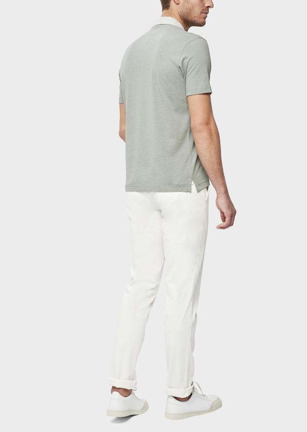 Polo manches courtes Slim en coton et lin uni vert kaki - Father and Sons 38741