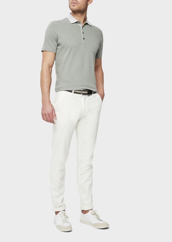 Polo manches courtes Slim en coton et lin uni vert kaki - Father and Sons 38740