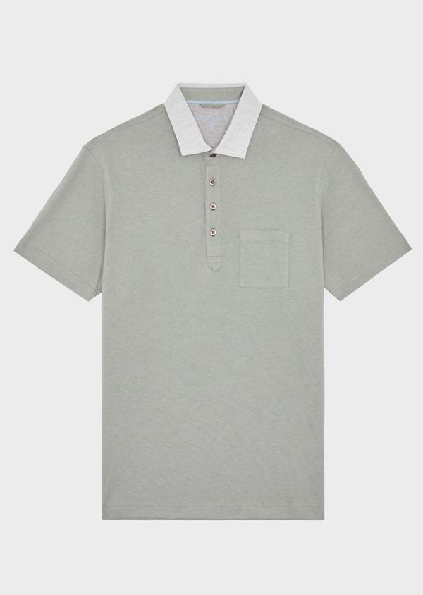 Polo manches courtes Slim en coton et lin uni vert kaki - Father and Sons 38738
