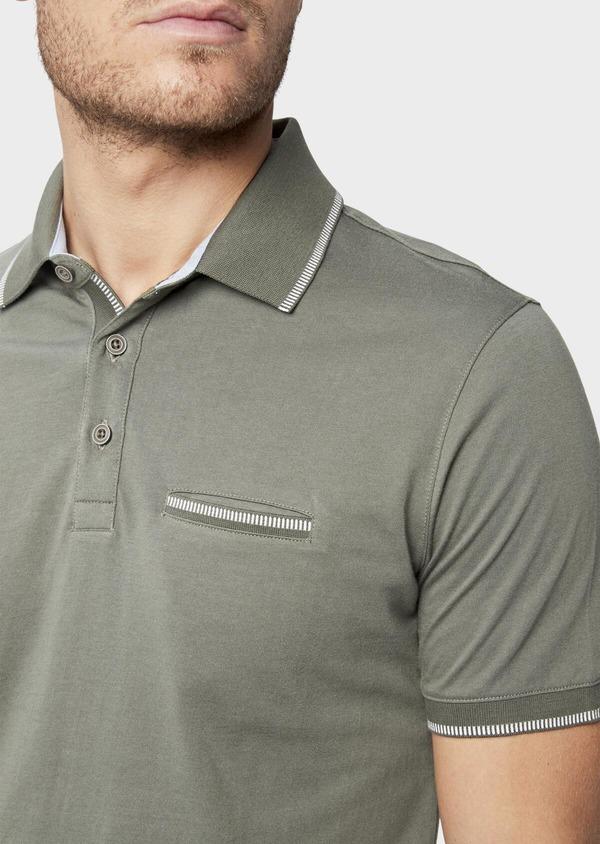 Polo manches courtes Slim en coton uni vert kaki - Father and Sons 38774