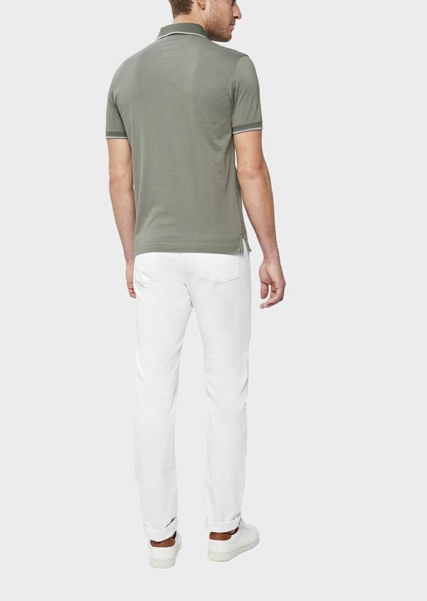 Polo manches courtes Slim en coton uni vert kaki - Father and Sons 38773