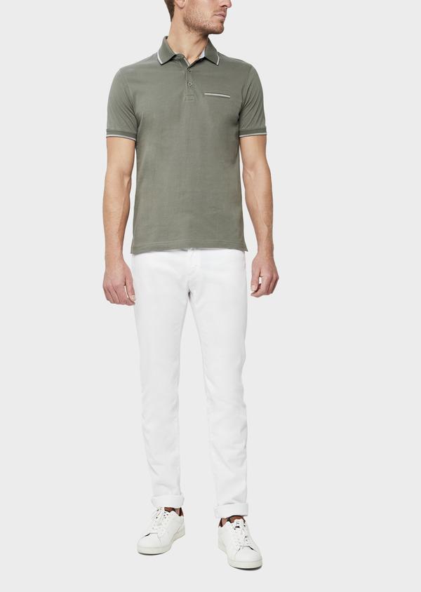 Polo manches courtes Slim en coton uni vert kaki - Father and Sons 38772