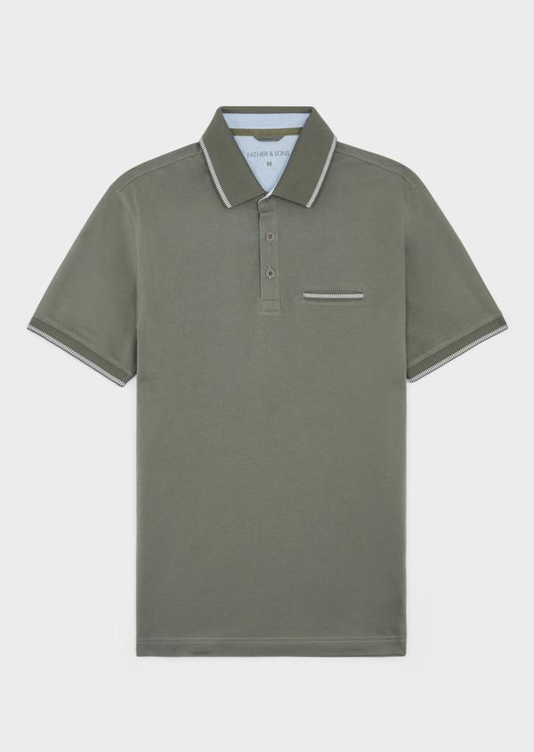 Polo manches courtes Slim en coton uni vert kaki - Father and Sons 38770