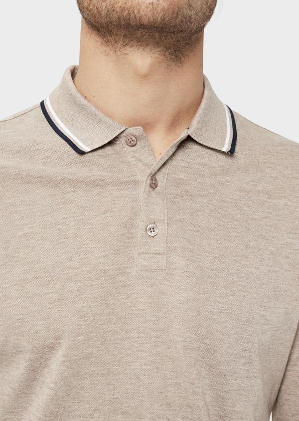 Polo manches longues Slim en coton uni beige - Father and Sons 36164
