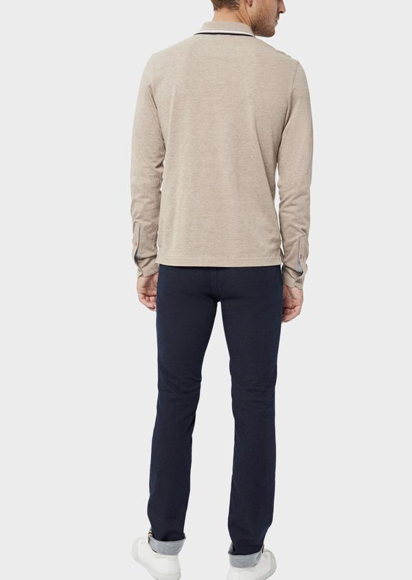 Polo manches longues Slim en coton uni beige - Father and Sons 36163