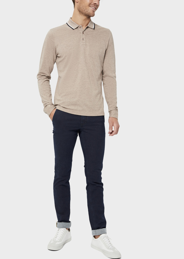 Polo manches longues Slim en coton uni beige - Father and Sons 36162