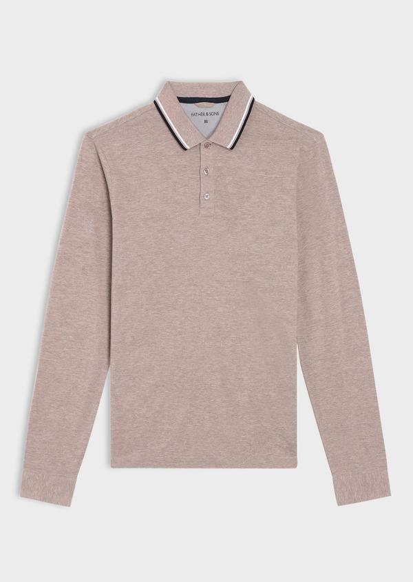 Polo manches longues Slim en coton uni beige - Father and Sons 36160
