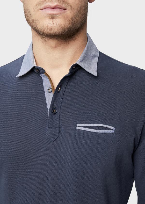 Polo manches longues Slim en coton uni bleu indigo - Father and Sons 38798