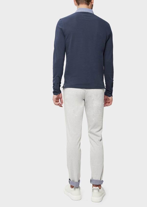 Polo manches longues Slim en coton uni bleu indigo - Father and Sons 38797
