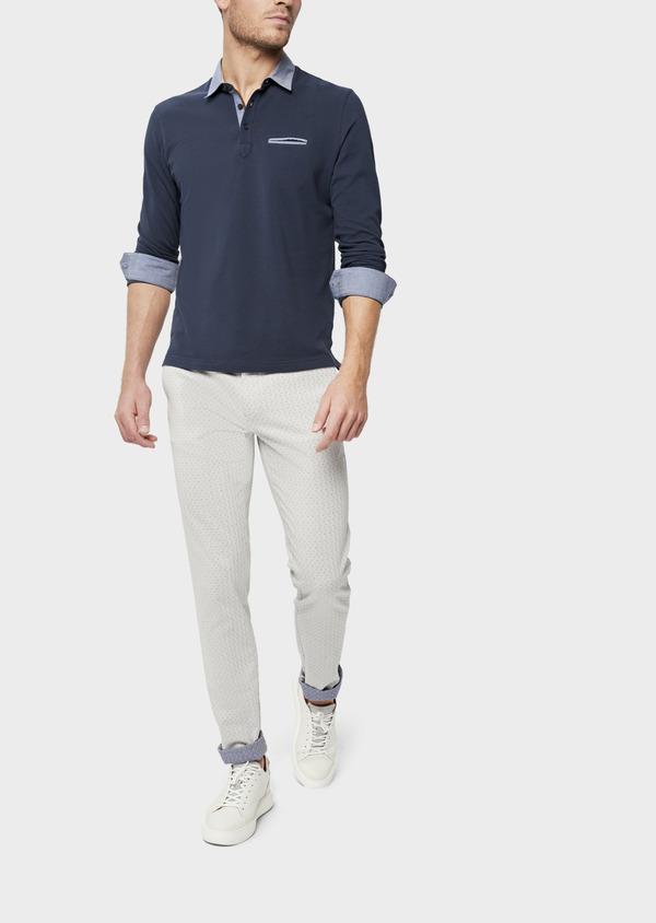 Polo manches longues Slim en coton uni bleu indigo - Father and Sons 38796