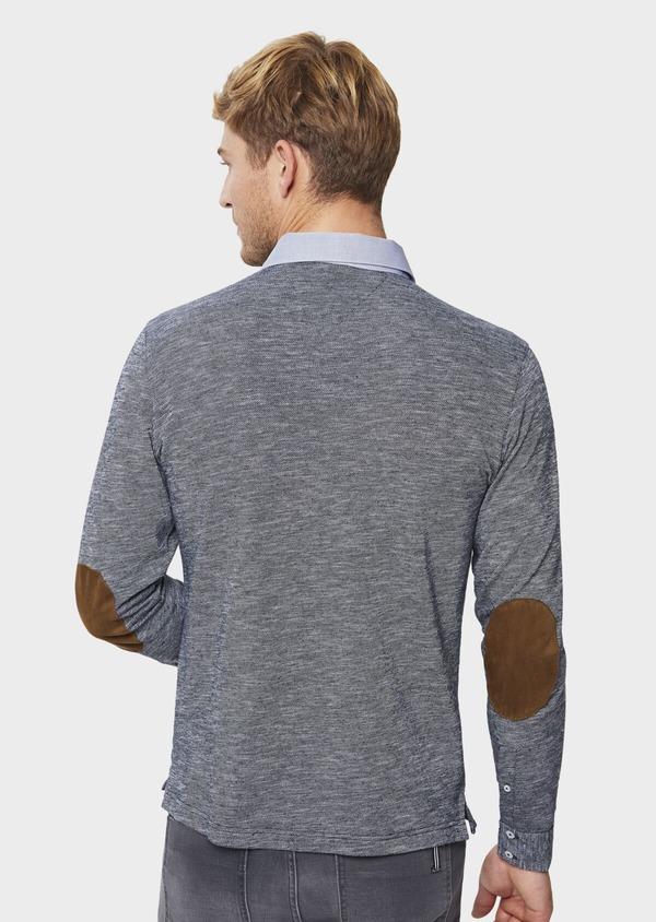 Polo manches longues Slim en coton uni bleu - Father and Sons 41821