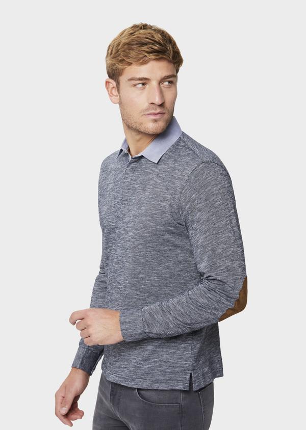 Polo manches longues Slim en coton uni bleu - Father and Sons 41820