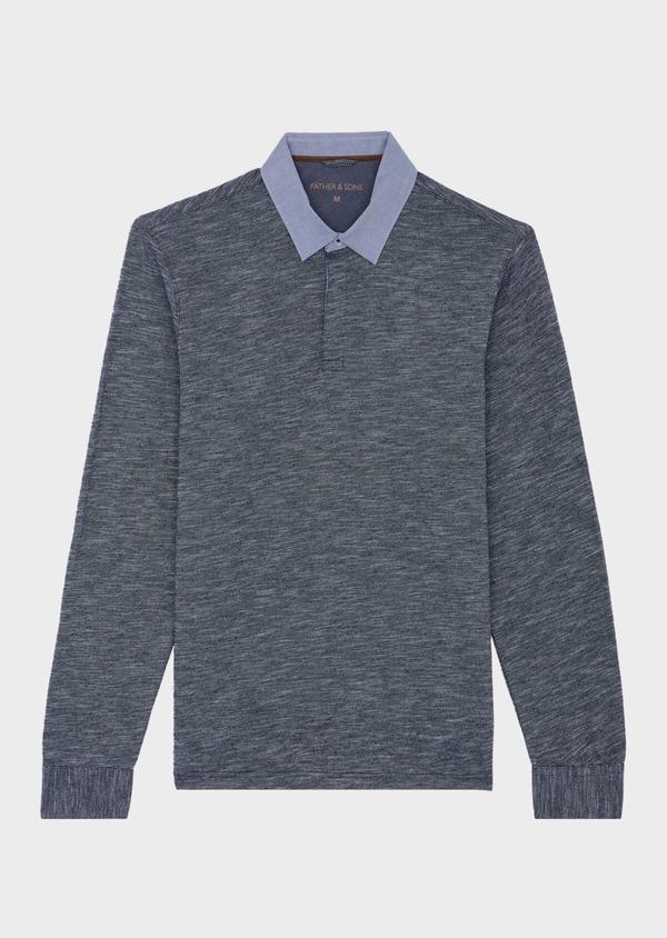 Polo manches longues Slim en coton uni bleu - Father and Sons 41819