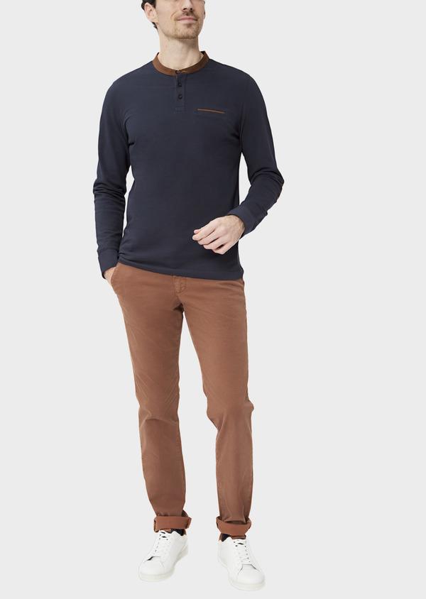 Polo manches longues Slim en coton uni bleu nuit à col Mao - Father and Sons 37300