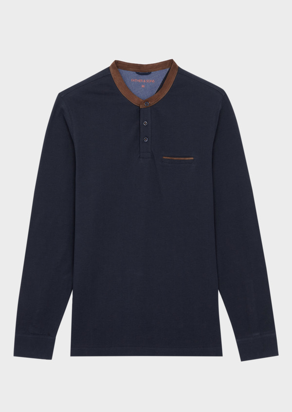 Polo manches longues Slim en coton uni bleu nuit à col Mao - Father and Sons 37298