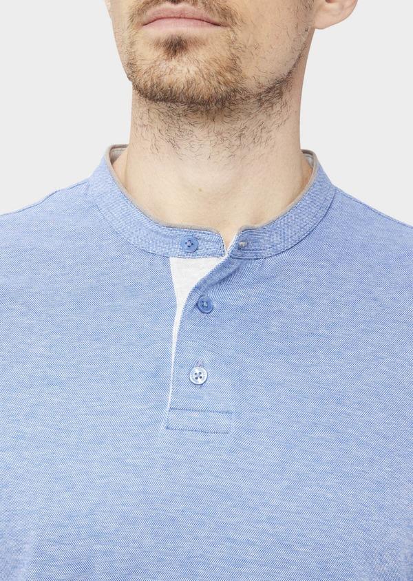Polo manches longues Slim en coton uni bleu ciel - Father and Sons 36795