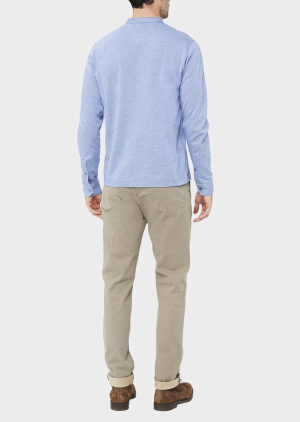 Polo manches longues Slim en coton uni bleu ciel - Father and Sons 36794