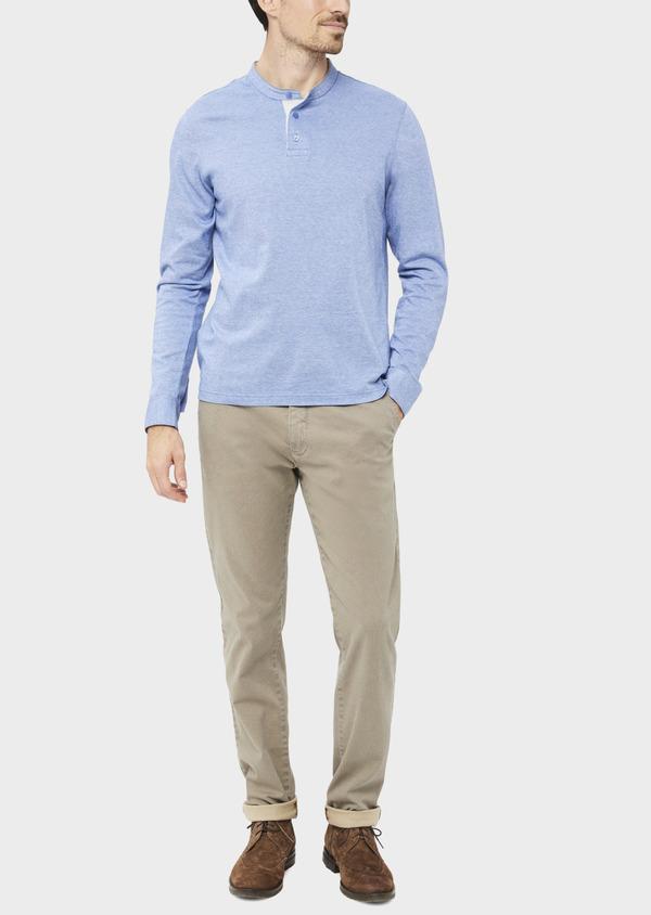 Polo manches longues Slim en coton uni bleu ciel - Father and Sons 36793
