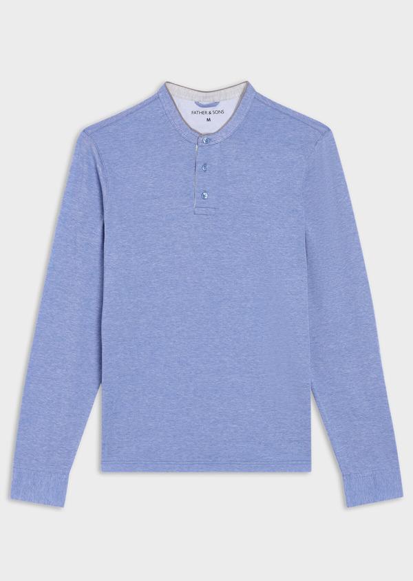 Polo manches longues Slim en coton uni bleu ciel - Father and Sons 36791