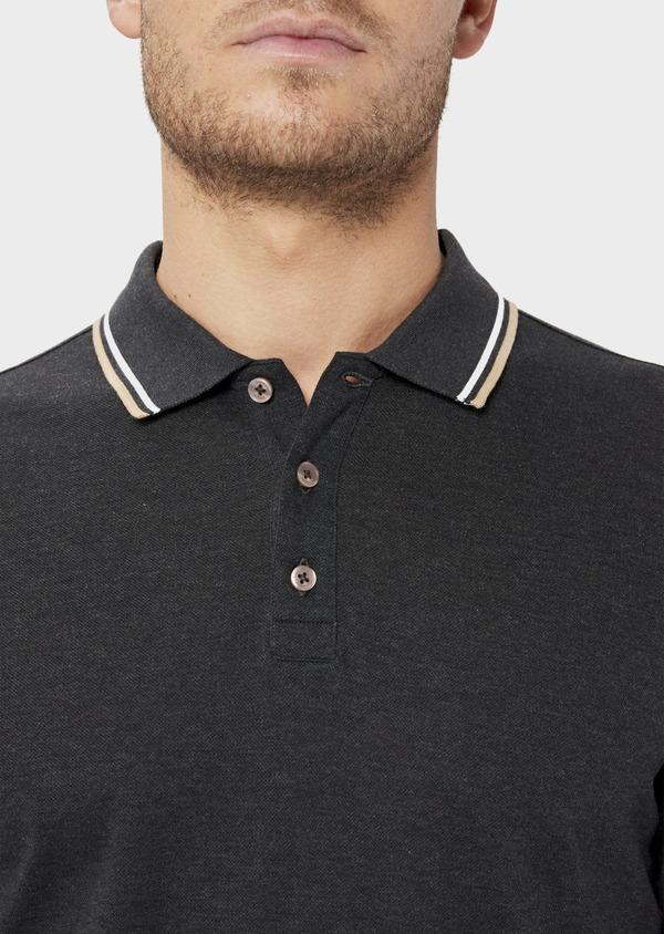 Polo manches longues Slim en coton uni gris - Father and Sons 36416