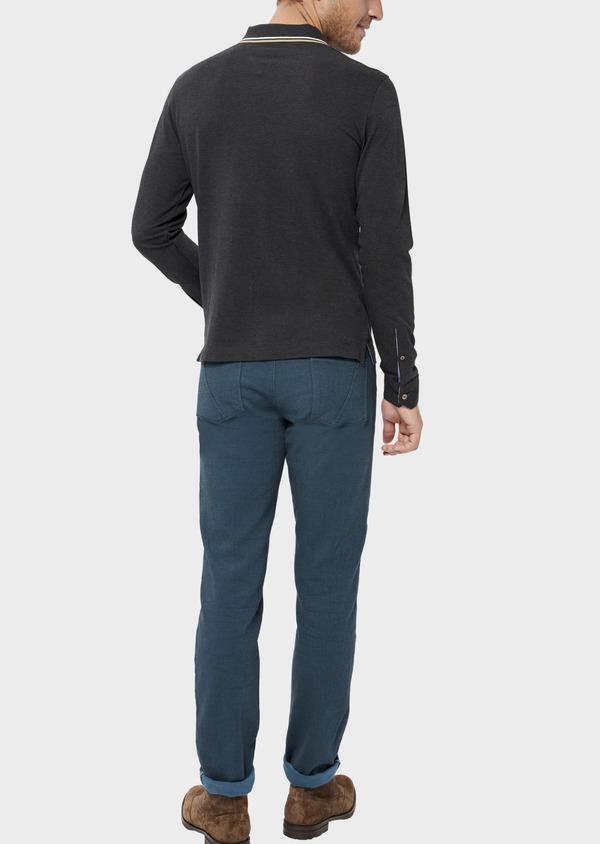 Polo manches longues Slim en coton uni gris - Father and Sons 36415