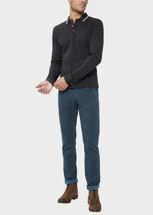 Polo manches longues Slim en coton uni gris - Father and Sons 36414