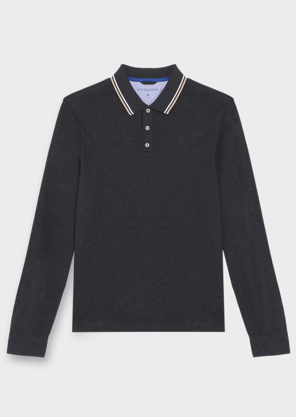 Polo manches longues Slim en coton uni gris - Father and Sons 36412