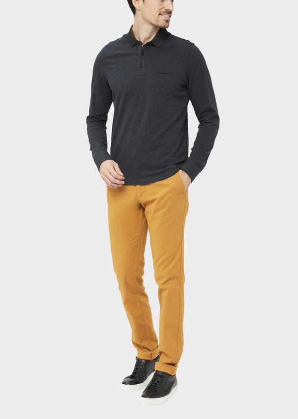 Polo manches longues Slim en coton jersey uni gris chiné et bleu marine - Father and Sons 37035