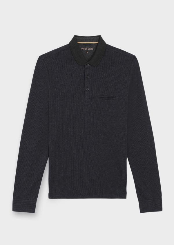 Polo manches longues Slim en coton jersey uni gris chiné et bleu marine - Father and Sons 37033